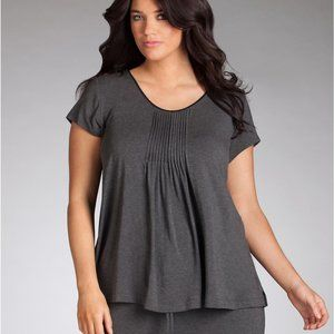 DKNY Seven Easy Pieces Pleated Top in Gray